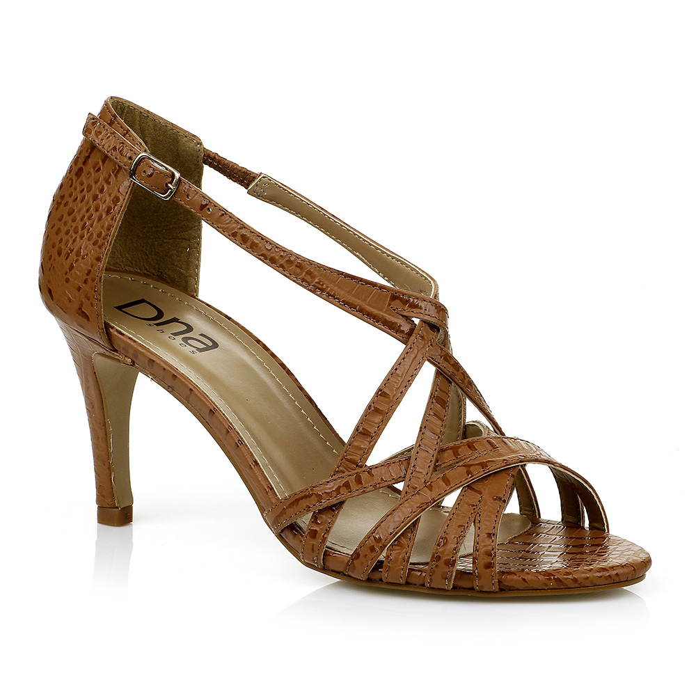 Sandália Salto Médio Caramelo DNA Shoes 306.016