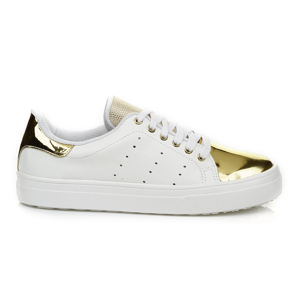 Tênis Casual Branco com detalhe Ouro DNA Shoes 40001