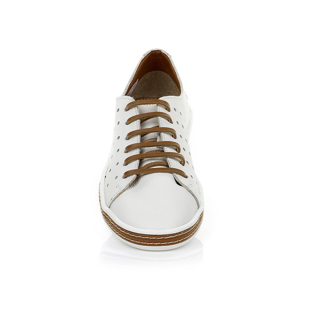 Tênis Casual em Couro Branco com Detalhe Caramelo TH Shoes 0678