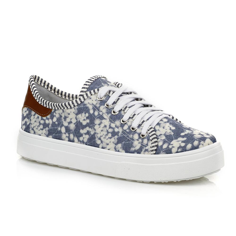 Tênis Casual Floral Detalhe Caramelo DNA Shoes 40018
