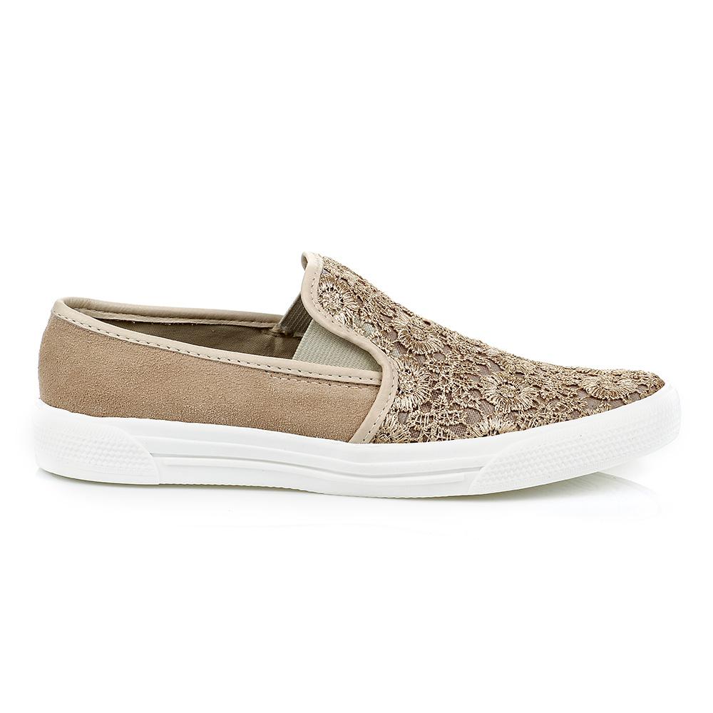 Tênis Slip On Renda detalhe em Camurça Nude Rosado TH Shoes 1429308