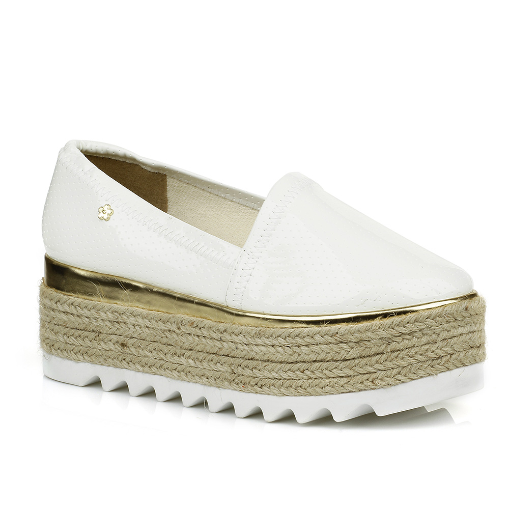 Tênis Slip On Flatform Branco Petite Jolie PJ2119