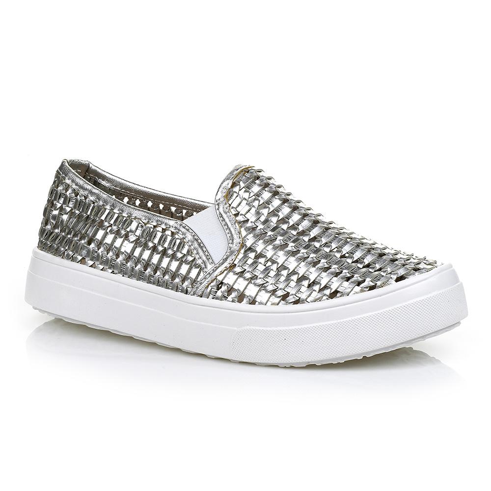 Tenis Slip On Trama Prata DNA Shoes 40004