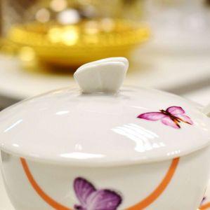 Açucareiro Com Pé E Colher De Porcelana Borboletas - 57009