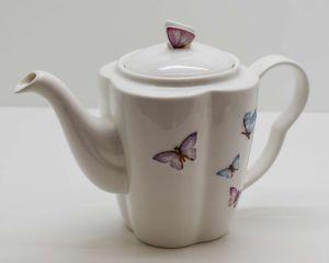 Aparelho De Chá Em Porcelana Borboleta Cj. Açucareiro Leiteira E Bule -  10575