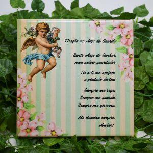 Azulejo Decorativo Anjo Da Guarda Verde - 58652