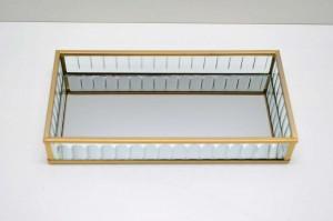 * Bandeja de Vidro e Metal Dourado Pequena - 58992