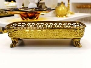 Bandeja Decorativa Em Metal Dourado - 54985