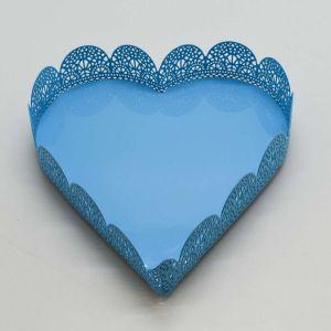 Bandeja Em Ferro Coração Azul Fancy - 57747