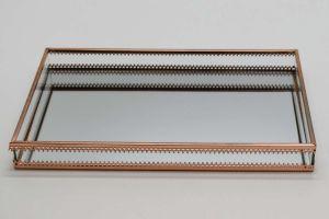 Bandeja Em Metal Cobre Com Fundo Espelhado - 57845