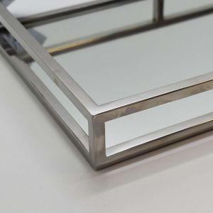 Bandeja Espelhada Retangular Em Aço Inoxidável Prata -  53063