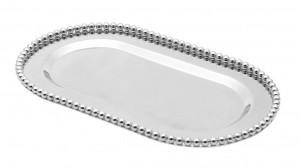 Bandeja oval 29x16 cm em zamac prateado 55013