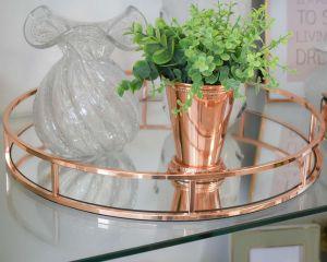 Bandeja Redonda Espelhada Cobre Rose Gold - 58222