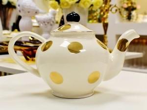 Bule De Cerâmica Branco E Dourado - 56245