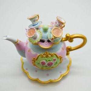 Bule Decorativo Com 04 Colheres Em Resina Alice - 58723