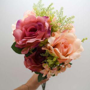 Buque De Rosas Roxas Com Rosa X15 - 58161