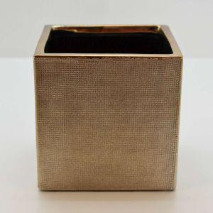 Cachepot Decorativo Quadrado Dourado Em Cerâmica - 58026