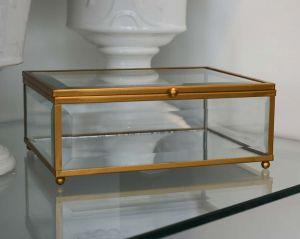 Caixa De Vidro Porta Joias Dourada Grande - 57758
