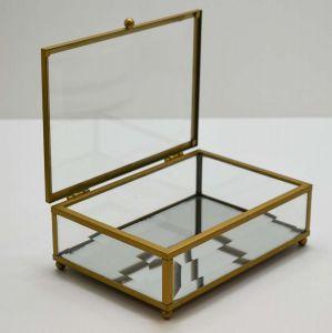 Caixa De Vidro Porta Joias Dourada Pequena - 58194