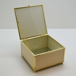 Caixa Decorativa Dourada Pequena Em Couro - 58328