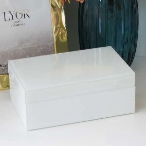 Caixa Decorativa Em Vidro E Madeira Branca - 58214