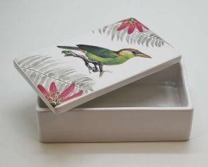 Caixa Decorativa Passarinho Tistu Em Cerâmica Branca - 57249