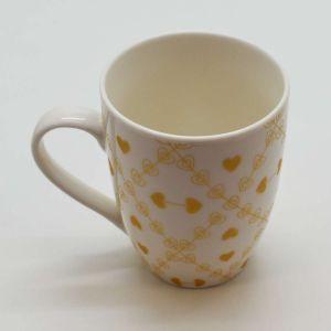 Caneca Em Porcelana 340ml Coração Ouro Branco - 58024
