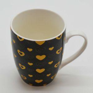 Caneca Em Porcelana 340ml Coração Ouro Preto - 58128