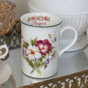 Caneca Flores Em Porcelana Mês De Agosto 350ml - 58758