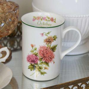 Caneca Flores Em Porcelana Mês De Outubro 350ml - 58760