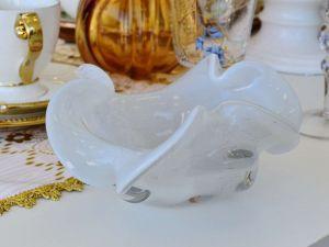 Vaso De Murano Branco Centro De Mesa Vidro Glacial - 57258