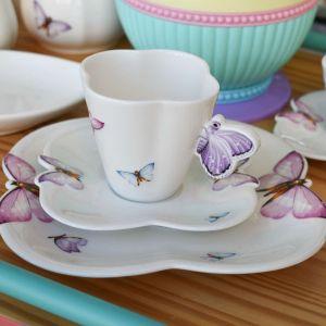Cj 06 Xícaras De Chá E Pratos De Sobremesa Em Porcelana Borboleta Wolff