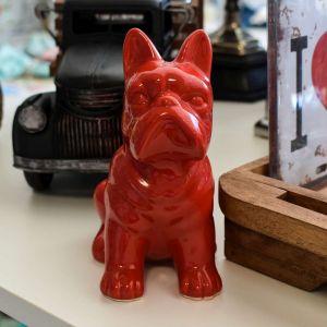 Cofre Cachorro Vermelho Em Cerâmica - 58062
