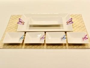 Conjunto 01 Bandeja e 05 Petisqueiras Em Porcelana Borboleta - 53059