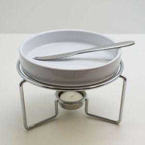 Conjunto 03 Peças Rechaud De Cerâmica Para Queijo Brie Com Faca De Aço Inox E Suporte Niquelado - 58528