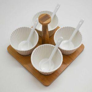 Conjunto 04 Molheiras De Porcelana Com Colheres E Suporte De Bamboo - 58491