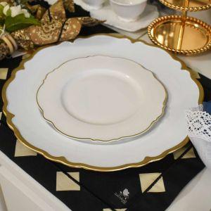 Conjunto 06 Sousplat De Plástico San Carlo Branco E Dourado - 58503