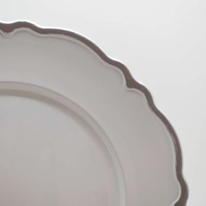 Conjunto 06 Sousplat De Plástico San Carlo Branco E Prata - 58502