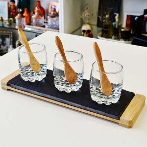 Conjunto Bandeja De Ardósia Com 03 Molheiras De Vidro E 03 Colheres De Bambu - 57311