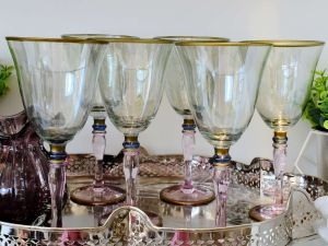 Conjunto Com 06 Taças De Vinho Tinto Em Vidro Colorida - 57760