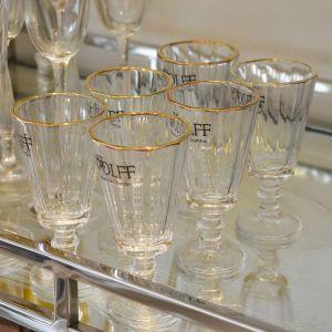 Conjunto Com 06 Taças Para Licor De Cristal De Chumbo Com Filete De Ouro 50ml - 58230