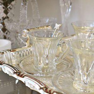 Conjunto Com 06 Xícaras 105ml Com Pires De Café Em Cristal Diamond - 58085
