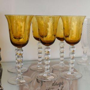 Conjunto De 06 Taças De Vinho Em Vidro Cristalino Com Lapidação Amarela - 55437