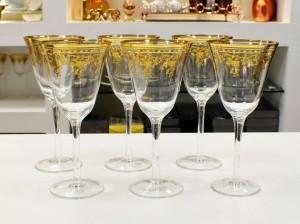 Conjunto De 06 Taças Para Água Em Vidro Cristalino Com Filigrano - 55440