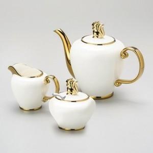 Conjunto de chá com 03 peças em porcelana com detalhes dourados 53772