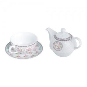 Conjunto de chá xícara e bule Rosas em porcelana 53762
