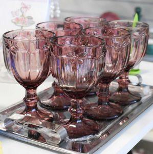 Conjunto De Taças Libélula 06 Peças De Vidro Roxo - 58196