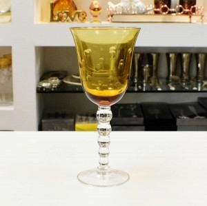 Conjunto De Taças Para Água Em Vidro Cristalino Com Lapidação Amarela - 55438