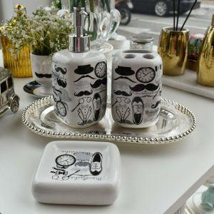 Conjunto Para Banheiro 03 Peças Em Cerâmica Vintage Moustache - 58061