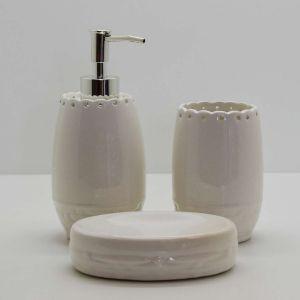 Conjunto Para Banheiro Lavabo Em Cerâmica Branco 03 Peças - 58058